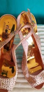 Shoe dazzle eloise pink satin sling back heels